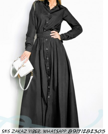 Длинное платья-рубашка с рукавами из коттона черное